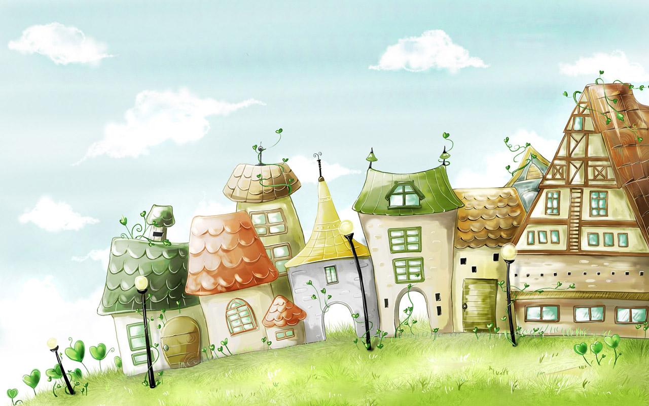 简约田园风风景漫画图
