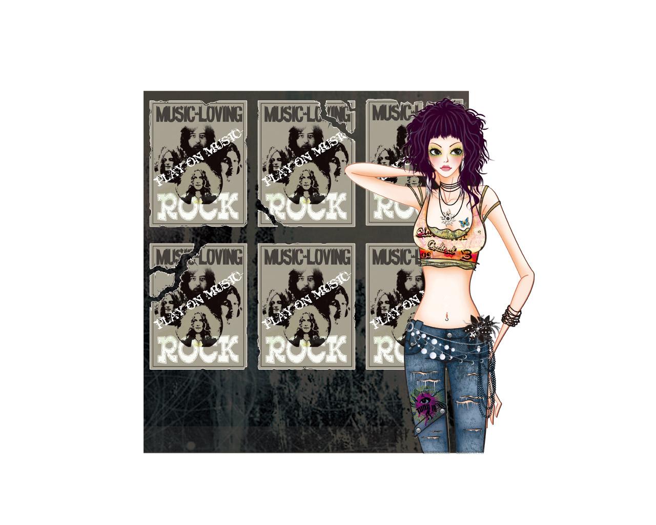 19吋屏-手绘时尚女性(1280x1024) 壁纸