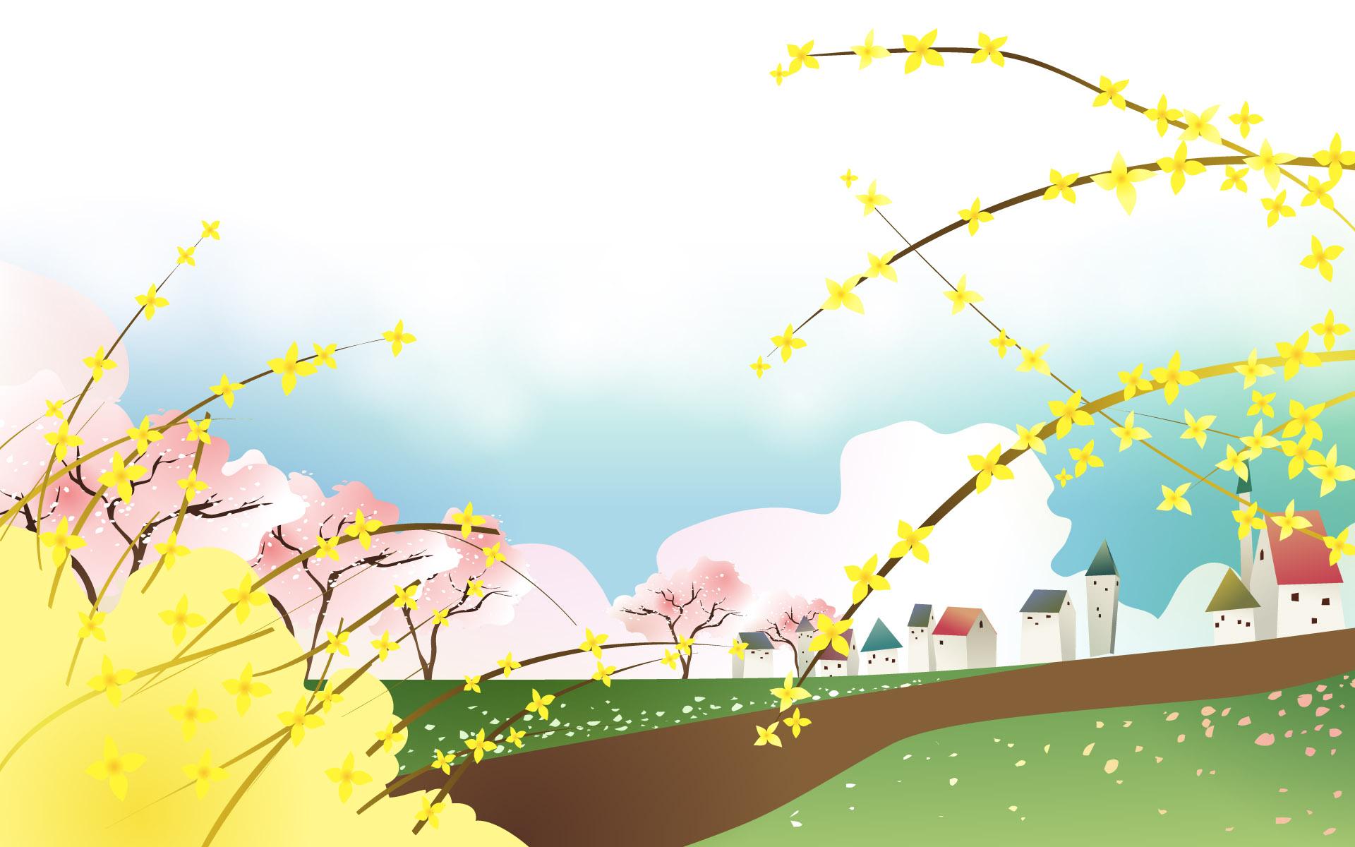 宽屏卡通-春天的气息(1920x1200)壁纸