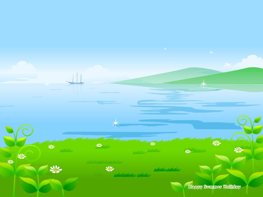 池塘卡通幻灯片素材背景