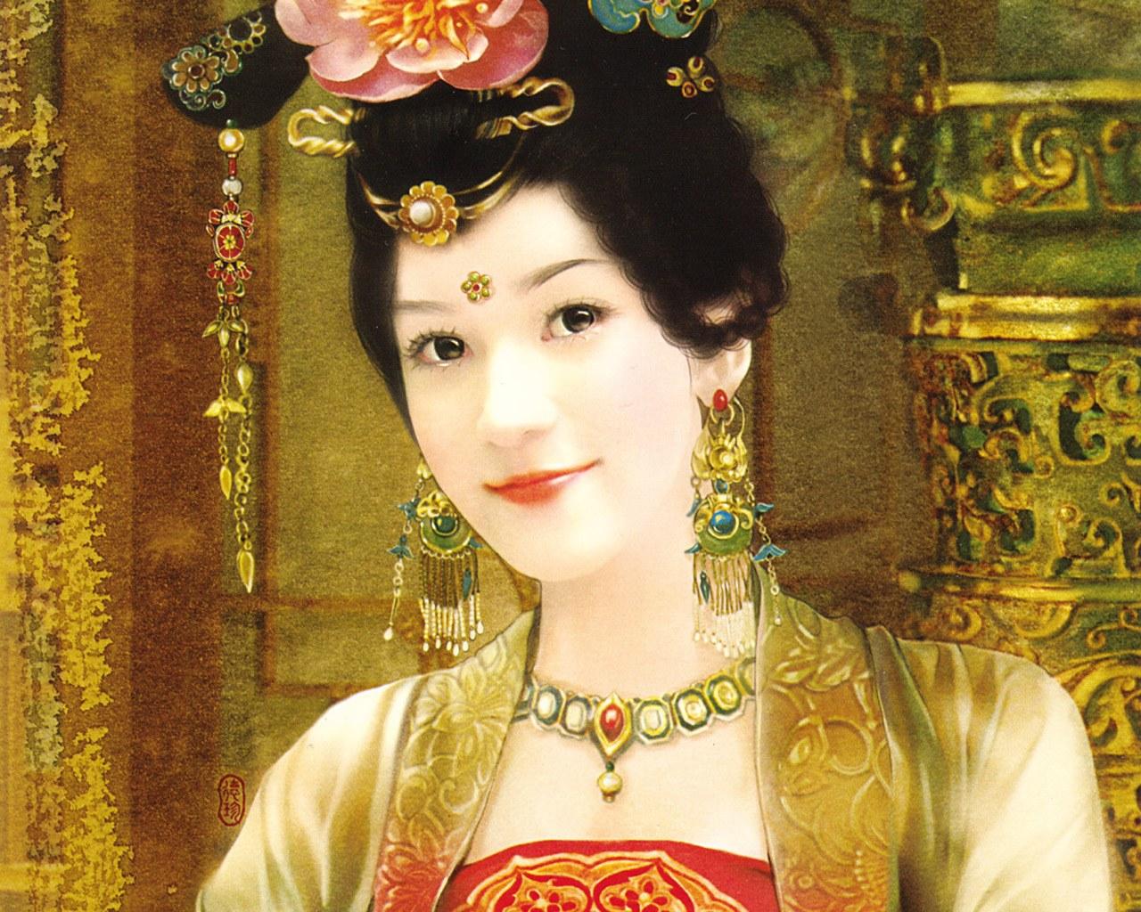 古装手绘美女 清朝
